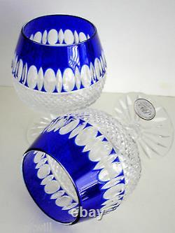 1 Ajka Cobalt Blue Corlis Cased Cut To Clear Wine Inhaler Brandy Snifters