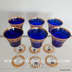 1 Glass Roemer color dark blue Hocks in crystal St-Louis Thistle gold 8.2 inch
