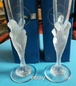(1) PAIR ERTE MAJESTIQUE CHAMPAGNE CRYSTAL FLUTES With BOXES SIGNED FROM FRANCE