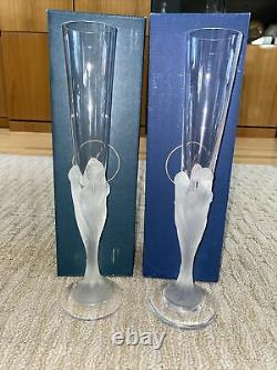 (1) PAIR ERTE MAJESTIQUE CHAMPAGNE CRYSTAL FLUTES With BOXES. Special Acid Mark