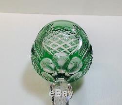 1 St. Louis Bohemian Emerald Air Twist Stem Cut To Clear Crystal Wine Glass