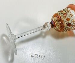 1 Val St. Lambert Bohemian 2 Color Peach Cut To Amber Uran Crystal Wine Glass