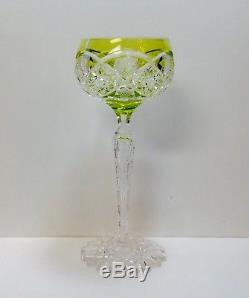 1 Val St. Lambert Saarbrucken Chartreuse Green Cut To Clear Crystal Wine Glass
