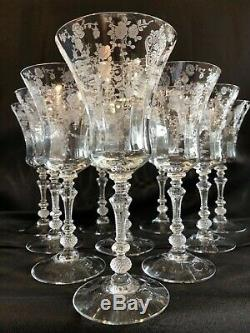 10 Antique Elegant Cambridge Glass Rose Point Clear 3500 Crystal Water Goblets