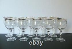 10 Antique French Baccarat Crystal Gold Water Goblets Wine Drinking Glasses