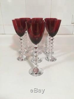 10 Baccarat Vega Rhine Wine Glass Ruby/Red French Crystal 9 France Sale Each