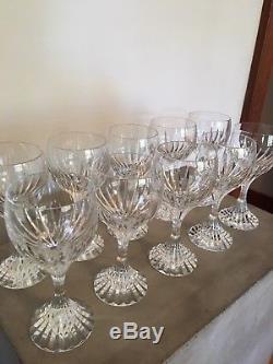10 Exquisite Baccarat Crystal Massena Claret Wine Glasses Mint
