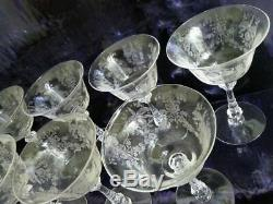 10 HEISEY ORCHID CRYSTAL ETCHED SHERBET WINE CHAMPAGNE GLASSES High Stem 1940's