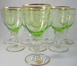 10 Vintage Danish Lyngby Crystal Green White Wine glasses Seagull Design