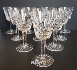 10 Waterford Crystal Lismore Claret Wine Glasses 5- 7/8