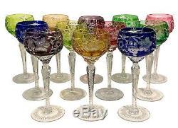 12 AJKA MARSALA Multi Color BOHEMIAN GLASS CUT TO CLEAR 8 1/4 Wine Hock Glasses