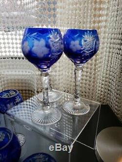 12 Ajka Cobalt Blue Cased Cut To Clear Crystal Wine Glass Hock