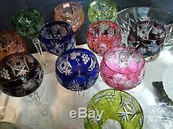 12 Ajka Marsala Bohemian Nachtmann Cut Clear Crystal Hock Wine Goblet Glass