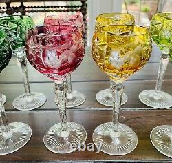12 Nachtmann Traube Cut To Clear Crystal Wine Goblets 7 Tall Various Colors