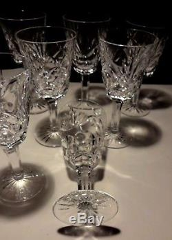 12 Vintage Waterford Crystal Ashling White Wine Glasses 5 1/2 Ireland