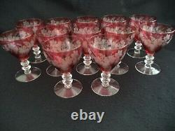 12 cranberry etched water wine goblets crystal stems grapes leaves hand blown