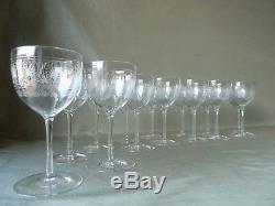 15 Antique Edwardian Acid Etched Crystal Port Wine Glasses, Probably Baccarat