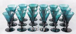 18x antique 18th C White Wine Glass ca. 1780 Holland, blue green / petrol crystal