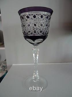 1907-08 St Saint Louis Crystal France Amethyst Cut to Clear Wine Goblet Hock 8