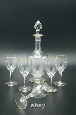 19th Baccarat Gold Art Crystal Madere Wine Set 1 Decanter 5 Glasses France Num