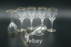19th Old Baccarat Gold Clear Cut Crystal 6 Wine Glasses H. 5.1/2 France Set