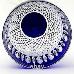 (2) AJKA AJC15 Cobalt Blue Cased Cut to Clear Crystal Stem Wine Goblets