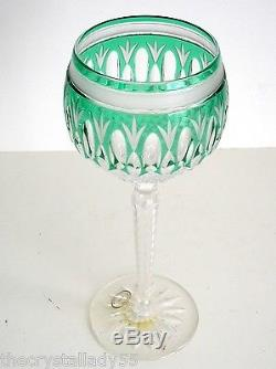 2 Ajka Clarendon Ed II Emerald Green Cased Cut To Clear Crystal Wine Goblet
