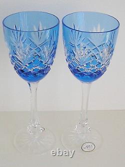 2 Ajka Odessa Ed 2 Azure Lt Blue Cased Cut To Clear Crystal 8 3/8 Wine Goblets