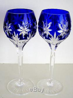 2 Ajka Star Of Midnight Cobalt Blue Cased Cut To Clear Crystal Wine Goblets