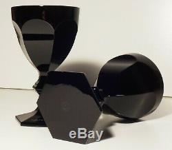 2 Baccarat Crystal Harcourt Darkside Wine Goblet Glasses Black Signed 5 3/8