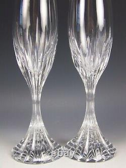 2 Baccarat Crystal Massena 8.5 Champagne Flutes Wine Glasses Signed