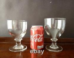 2 Large Antique Georgian Victorian Crystal Glass Rummers His and Hers