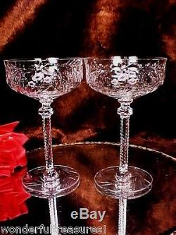 2 RARE Antique WHEEL CUT GLASS Crystal Wine Champagne Glasses CUT STEM& RINGS