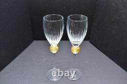 2 Union Street st Glass Manhattan Crystal Claret wine goblets Gold Ball 10.25