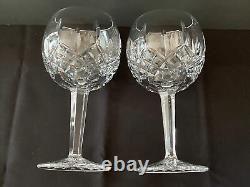 2 WATERFORD CRYSTAL Balloon Wine Glasses 7-1/8 Lismore Pattern MINT COND