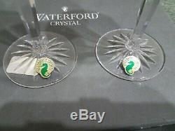 2 Waterford COBALT Colored Crystal Clarendon Wine Hock Goblets -8H -Mint in Box