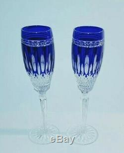 2 Waterford Clarendon Cobalt blue cut to Clear Crystal Champagne wine with box