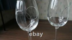 2 Waterford Crystal Circa Tall Wine Glasses by John Rocha, Signed 25cm tall