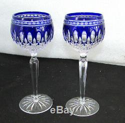 2 Waterford Crystal Clarendon Cobalt Blue Wine Hock Glasses 8 Inch