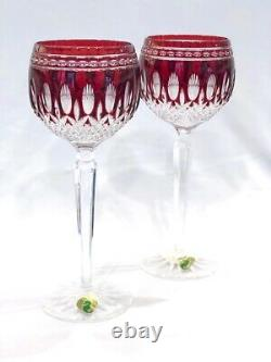 2 Waterford Crystal Clarendon Ruby Wine Hocks, Red on Clear Glasses 8, Exc