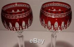 2 Waterford Crystal Clarendon Wine Hock Glasses Ruby Red