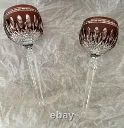2 Waterford Crystal Clarendon Wine Hock Glasses Ruby Red Cut To Clear Goblets 8