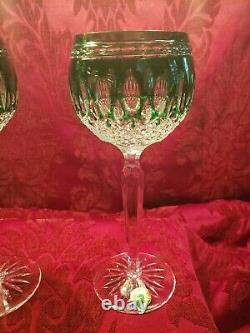 2 Waterford Crystal Emerald Green Clarendon Wine Glass Hock Goblets