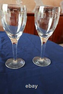 2 Waterford Crystal Geo Wine Glasses by John Rocha Pristine Condition 21cm