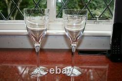 2 Waterford Crystal John Rocha Designed Geo Wine Glasses Superb Cond. 25cm