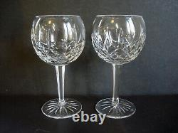 2 Waterford Crystal LISMORE 12 oz Wine Balloon Goblets 7 1/8