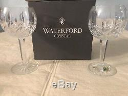2 Waterford Crystal Lismore Balloon Wine Glasses 7 Signed