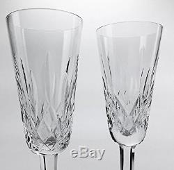 2 Waterford Crystal Lismore Champagne Glasses Wine Flute Stemware 7 1/4 #A