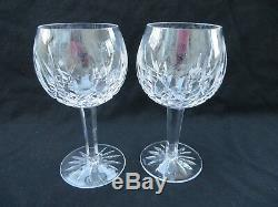 2 Waterford Crystal Lismore Oversize Jumbo Balloon Wine Hocks, 7 5/8 H 16 oz