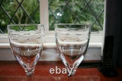 2 Waterford Crystal Tall Wine Glasses by John Rocha in the Geo Design 25cm tall